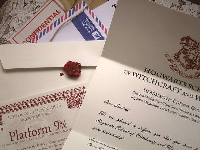 Image of Hogwarts letter, envelope, and train ticket